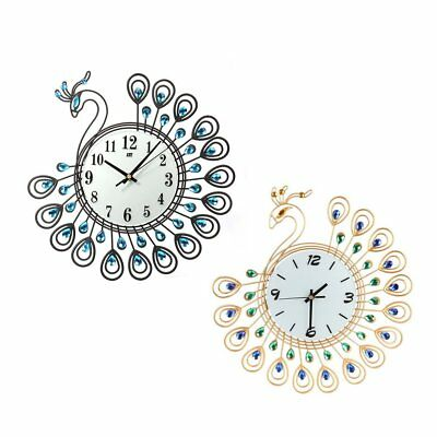 Peacock Shape Living Room Clock European Style Quartz Movement Wall Clock T2