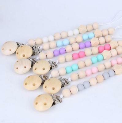 Baby Wooden Pacifier Clip dummy Holder Feeding Teether Pacifier Chain