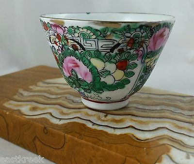 Antique Hand Painted SAKE CUP Japan China Decorated in Hong Kong w/ Foil Label
