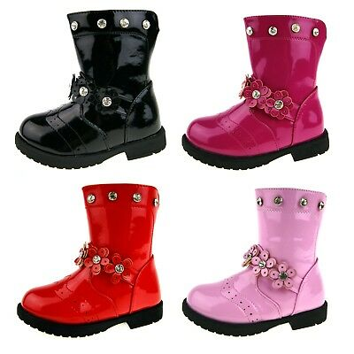 Girls Diamante Boots Faux Leather Patent Mid Calf School Party Winter Boots Size