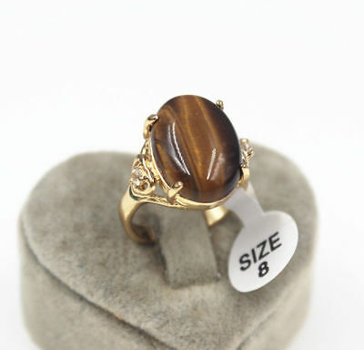 wedding engagement party Tigers Eye 18k yellow gold filed men's ring size 8