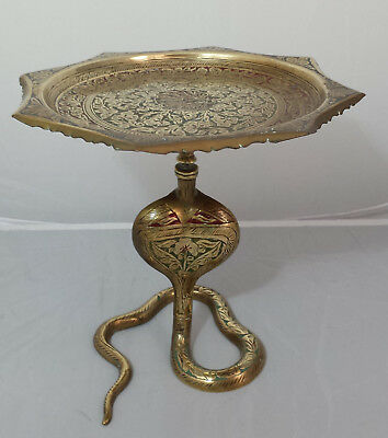 Antique Indian engraved brass pedestal centrepiece / tazza with cobra base