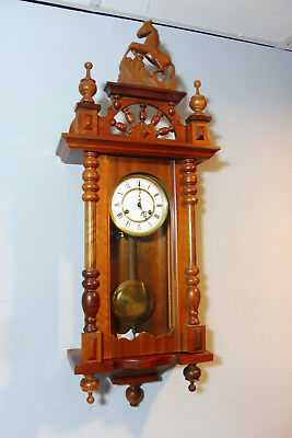 Old German Wall Clock Old Regulator Clock in Wood Vintage
