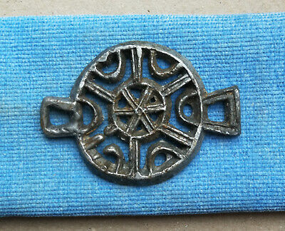 "ANCIENT MEDIEVAL SLAVIC VIKING BRONZE AMULET PENDANT ""SUN WHEEL"" or ""KOLOVRAT"""