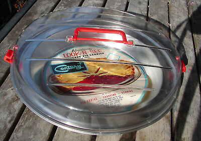 Vintage NOS Century Aluminum Look N See Covered Pie Carrier USA Bake-Carry-Store