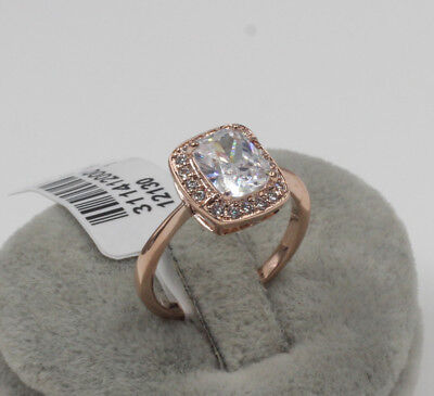 Emerald Cut Classic18K rose gold filled 8ct Commemoration Day Dress Ring size 8