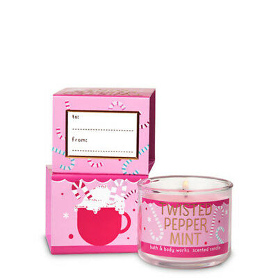 Bath And Body Works Twisted Peppermint Mini Scented Candle With Xmas Gift Box