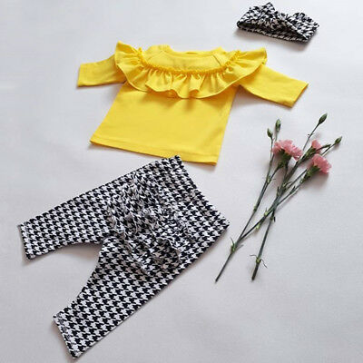 UK Toddler Kids Baby Girl Winter Outfit Clothes Plaid Ruffle Tops+Pants 3Pcs Set
