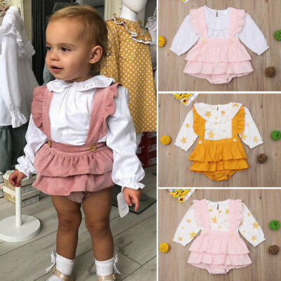 UK Newborn Kids Baby Girl Ruffle Tops Suspender Tutu Dress Pants Outfits Sunsuit