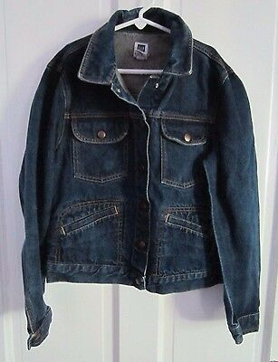 Girls The Gap Factory Store Snap Up Denim Blue Jean Jacket Multi Pockets Kids XL