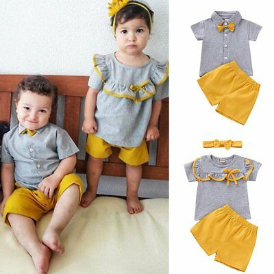 Toddler Kids Baby Boy Girl Matching Clothes T-shirt Tops+Short Pants Outfits Set
