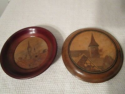 DEUX MARQUETERIES BOIS ALSACE SPINDLER BOLI landscapes of Alsace in marquetry