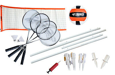 Triumph Sports Advanced Volleyball Badminton Combo Set Portable Outdoor Playset