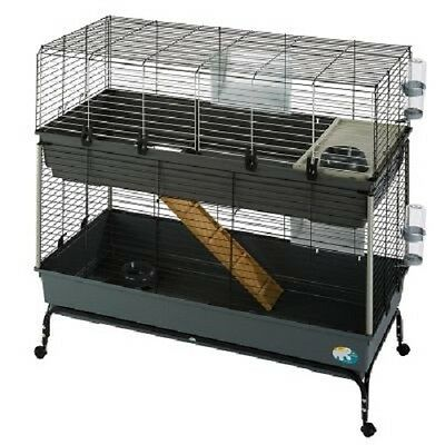 Rabbit Cage Guinea Pig 2 Tier Small Pet Cage  Mobile Loads of Accessories Gift