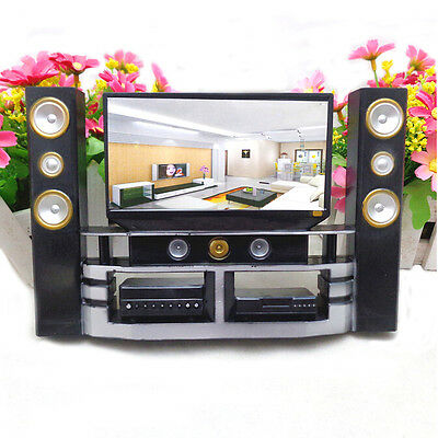 1 Pcs Mini Hi-Fi 1:6 TV Home Theater Cabinet Set Combo For  Doll SP