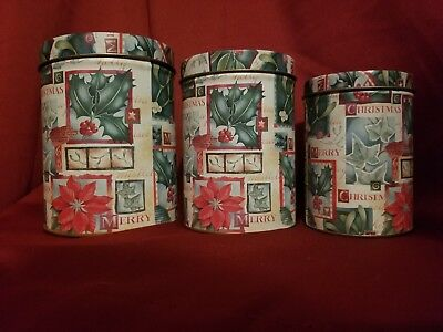 Holiday Kitchen 3-piece Set Stackable Tin Christmas Canisters