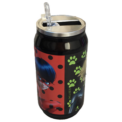 Borraccia Lattina Miraculous Ladybug Chatnoir Con Cannuccia 250 Ml. - Lb17037/3
