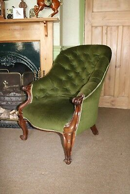 Antique Victorian Button Back Armchair