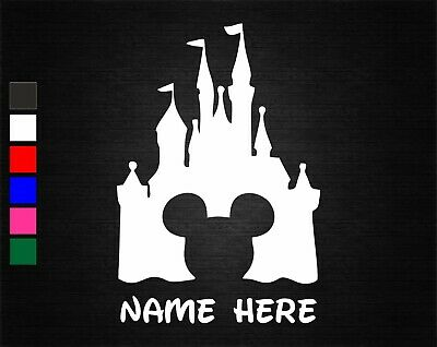 Personalised Name & Mickey Disney Castle Wall/door Art Vinyl Sticker 6 Colours