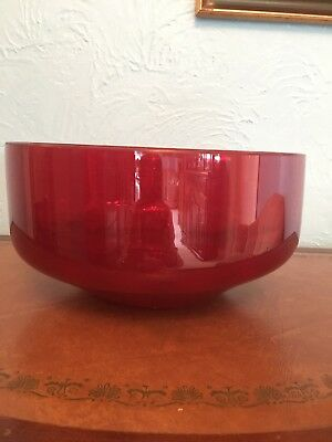 Vintage Large Ruby  Red Glass Dish/ Bowl Trifle Fruit 🍇 Fabulous Christmas Bowl