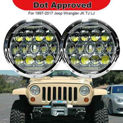 2PC Fits Jeep Wrangler 1997-2017 7Inch Round TURBOSII LED Headlights White 75W