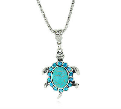 Women Chain Pendant Fashion Turquoise Tortoise Turtle Necklace Charm Jewelry
