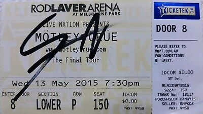 Motley Crue Nikki Sixx The Final Tour 2015 Ticket Hand Signed Autographed