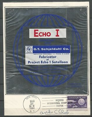 Space Exploration,echo.i.1961,card Signed By C.clarke