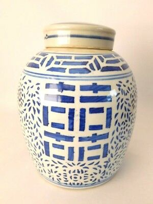 """Very Large Chinese Blue And White Ginger Jar With Lid 10"""" High"""