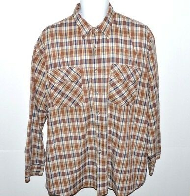 VTG Big Mac Mens Casual Shirt Size XL Button Up Brown Plaid Long Sleeve