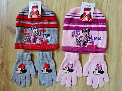 NEW GIRLS MINNIE MOUSE WINTER POMPOM HAT /& GLOVES SET AGE 3-8 YEARS