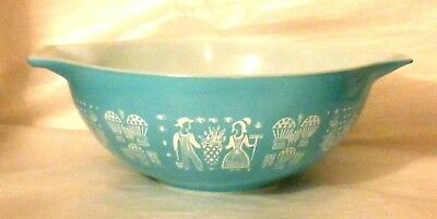 Large PYREX Cinderella AMISH BUTTERPRINT #444-4 Qt Mixing Bowl, Turquoise, EXC