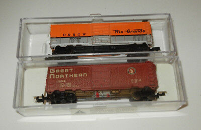 2 Bachmann N Scale Great Northern/Denver & Rio Grande Western 40' Boxcars