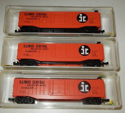 3 Model Power N Scale Illinois Central 50' Boxcars