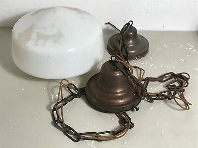 Antique milk glass school house shade ceiling light fixture 6 inch fitter chain
