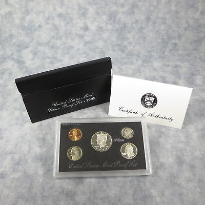 1998 US Mint SILVER Proof Set with Black Box & COA - Clean Blemish Free Coins