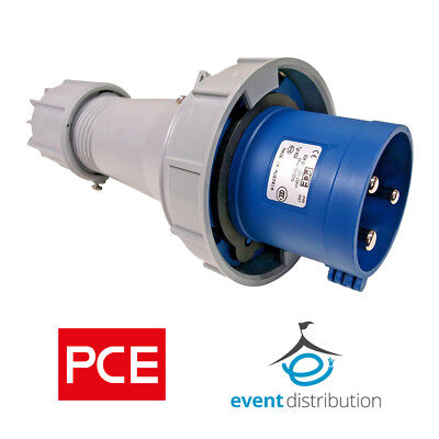 PCE 63 AMP 2P+E 3 Pin 230V/240V IP67 Rated Trailing Plug Male 63A Waterproof