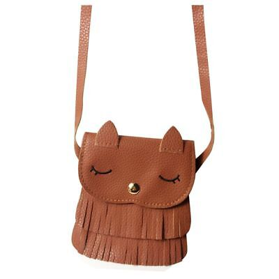 PU Leather Tassel Small Cat Shoulder Messenger Bag Purses for Kids Girls, cE9P9