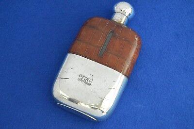 Antique Crocodile Skin & Silver Plate Hip Flask - c1910  - Antique - Flasks