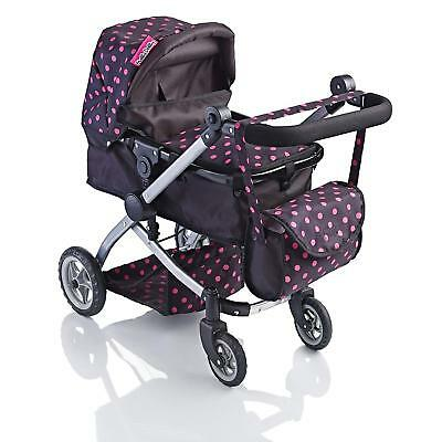 Dolls Deluxe Pram 2 In 1 Toy Pushchair Stroller With Changing Bag Girls Gift NEW