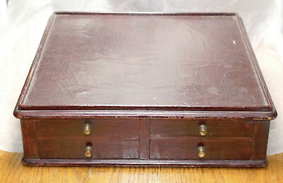 Antique S.S. White 5 Drawer Oak/Leather Dental Cabinet for Antique Dentist Chair