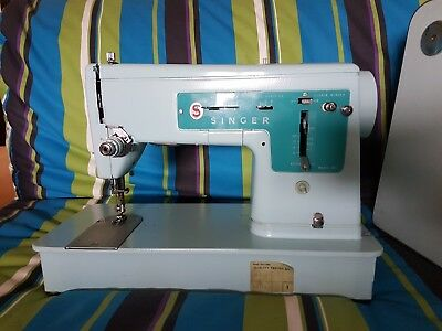 Singer 347 Vintage Sewing Machine, Case And Foot Pedal.