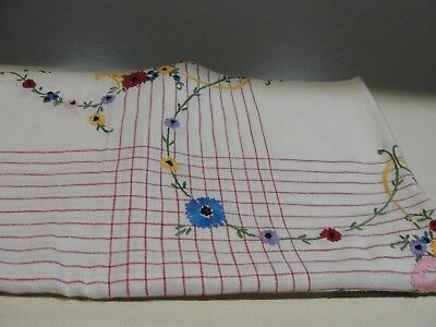Vintage Linen Card Table Cloth Ivory/Red stripes & Hand Embroidered Flowers