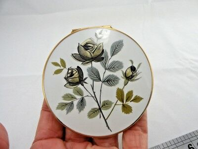 Vintage Stratton Face Powder Mirror Compact Roses Made In England New Unused