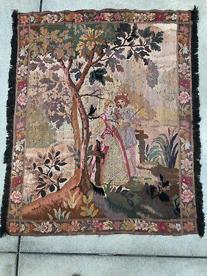 """Aubusson Style Vintage Tapestry Courting Couple Bucolic Scene 40"""" x 46"""""""
