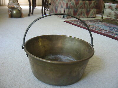 Heavy Antique Primitive Brass Hearth Pot with Rivited Iron Handle