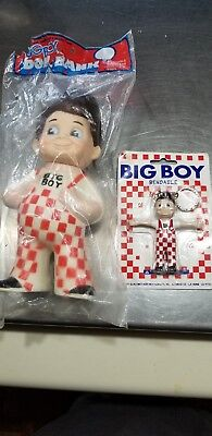 VINTAGE BIG BOY RUBBER TOY COIN BANK ORIGINAL PLASTIC BAG and Bendable keychain