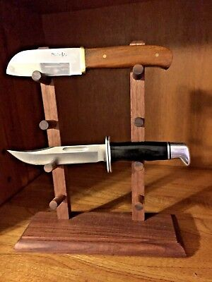 "Walnut Wood 4 Knife 12"" Stand"
