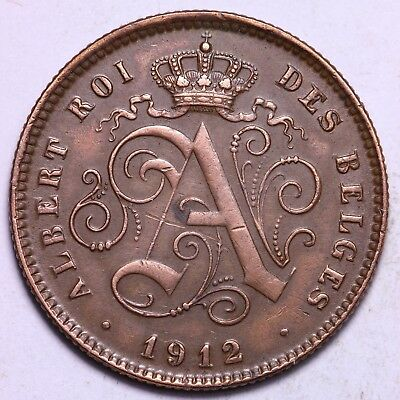 1912 Belgium 2 Centimes Coin   Free S/H To The USA
