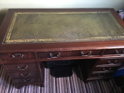 Regency Style Mahogany Veneer / Leatherette Double Pedestal Captains Desk